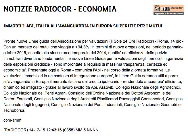 Sole 24 Ore Radiocor - Roma 14 dic